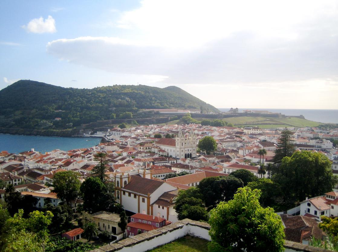 Angra do Heroísmo World Heritage Site with Monte Brasil surtseyian tuff cone in the background. Teciera Island