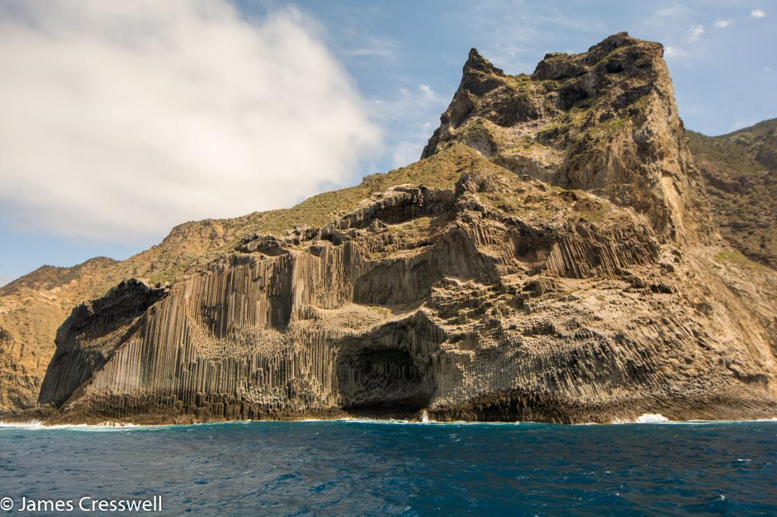 A sea cliff with columnar jointing, Los Organos on La Gomera Island, taken on Canary Islands geology holiday