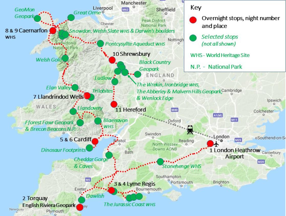 A map of the GeoWorld Travel England and Wales geology trip, tour and holiday