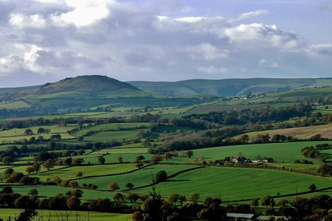 A photograph of Caer Caradoc as seen from Wenlock Edge