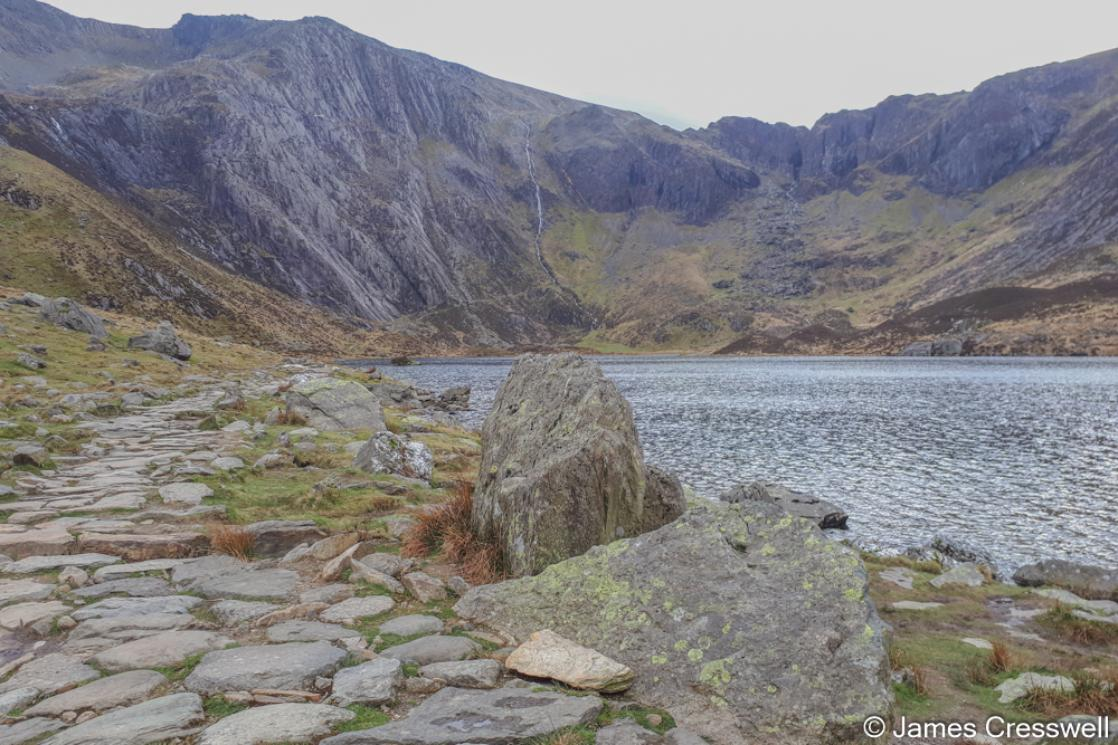 A photograph of Cwm Idwal and Darwin's Boulders, taken of a GeoWorld Travel geology trip, tour and holiday of Wales