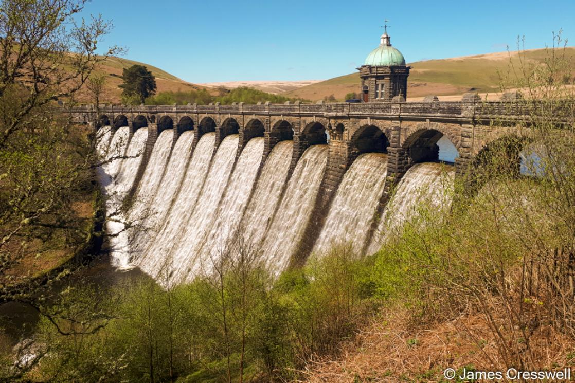 A photograph of Craig Goch dam in the Elan Valley, taken on a GeoWorld Travel geology trip, tour and holiday of Wales