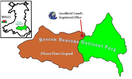 An image containing a map, the map shows GeoWorld Travel's location within the Fforest Fawr Geopark and Brecon Beacons National Park