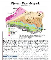 An image containing a map and text which is the first page of a magazine article about the geology of the Fforest Fawr Geopark