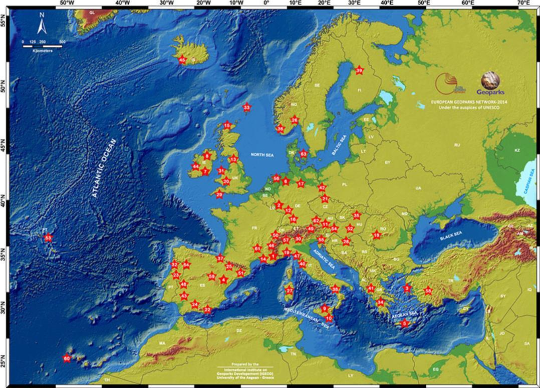 An image containing a map of the European Network of Geoparks