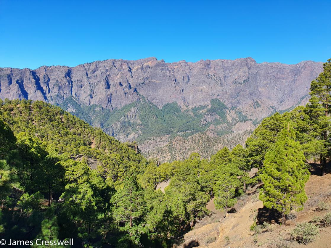 A photograph of the Taburiente Caldera on La Palma, taken on a GeoWorld Travel History of Geology trip and holiday