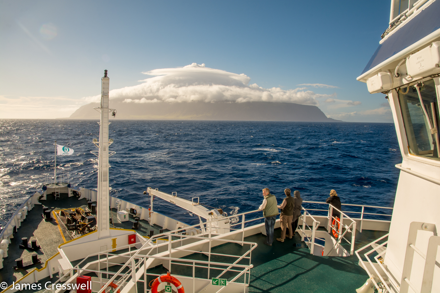 A ship approaching Tristan da Cunha, taken on a PolarWorld Travel placed cruise