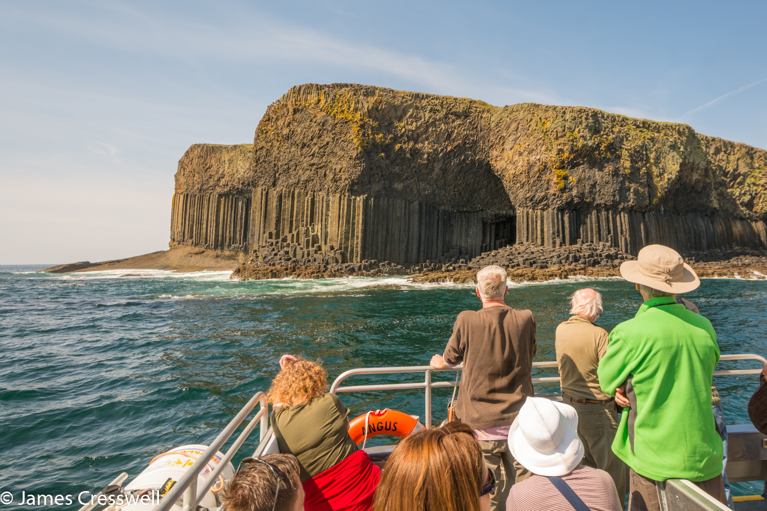 A photograph of a sea cave, Fingal's Cave, taken on a GeoWorld Travel Scotland geology trip, tour and holiday