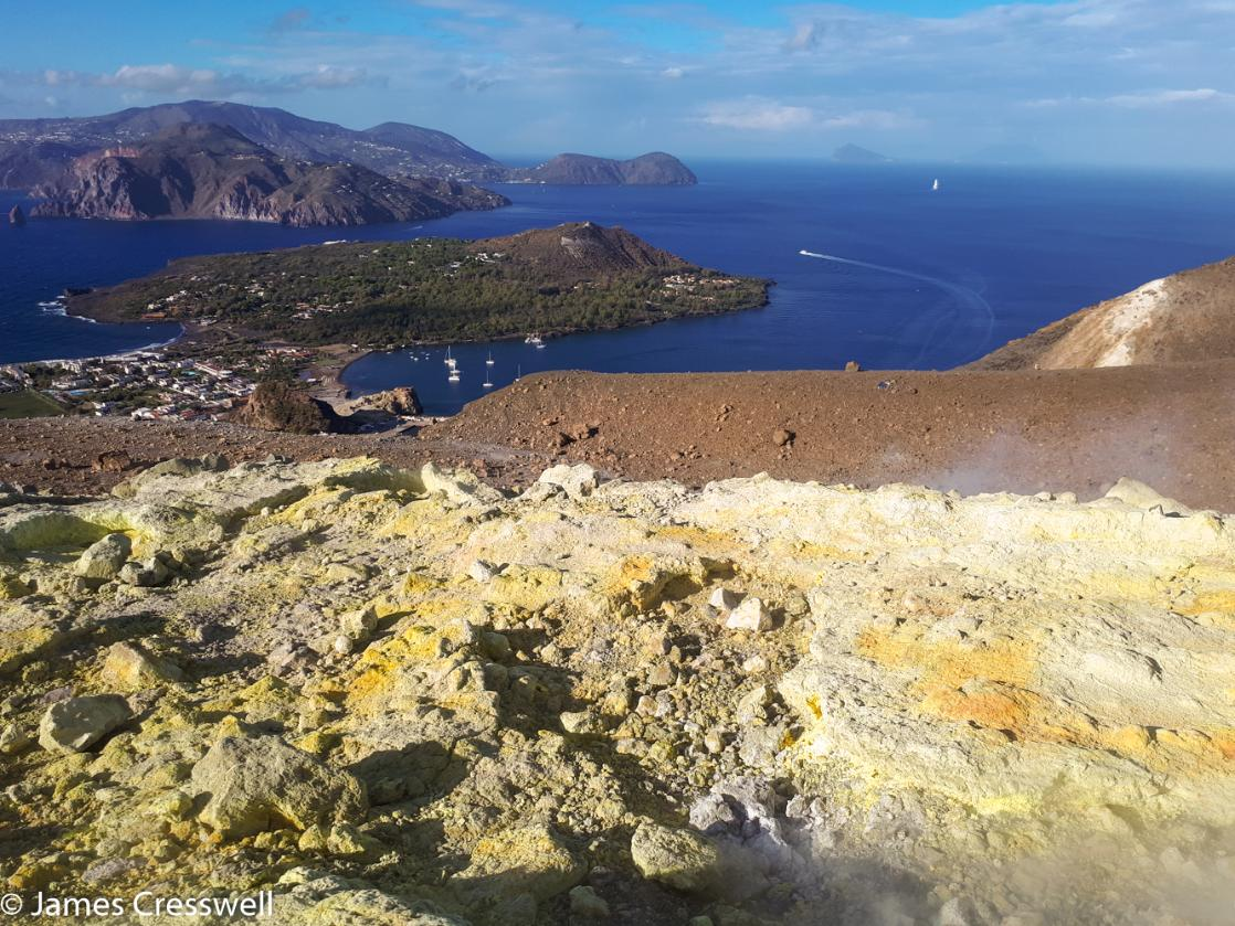 An image taken from La Palma of the other Aeolian Islands, taken on a GeoWorld Travel Italy volcano trip and geology holiday