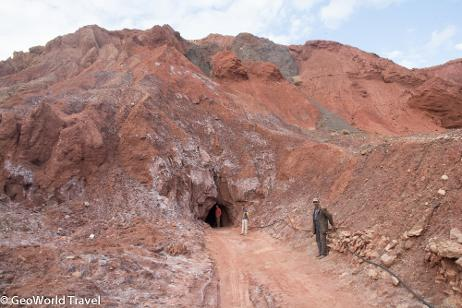 Salt mine in Triassic sediments in the Atlas Mountains. Morocco geology holiday. GeoWorld Travel