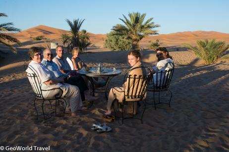 Enjoying the view of the Erg Chebbi sand dunes at our hotel in Merzouga. Morocco geology fossil hoilday