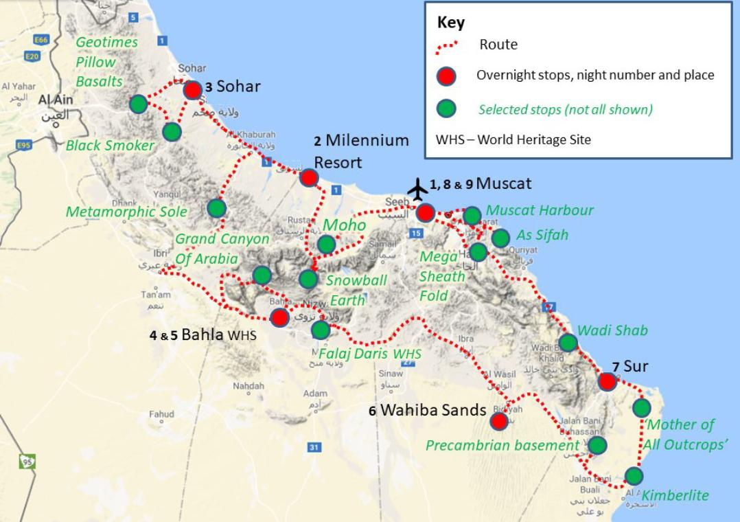 Oman geology tour route map