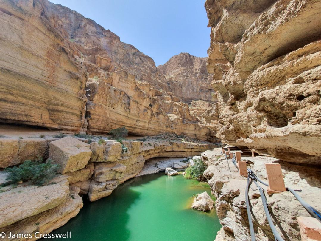 A photograph of Wadi Shab, taken on a GeoWorld Travel Oman geology trip, tour and holiday