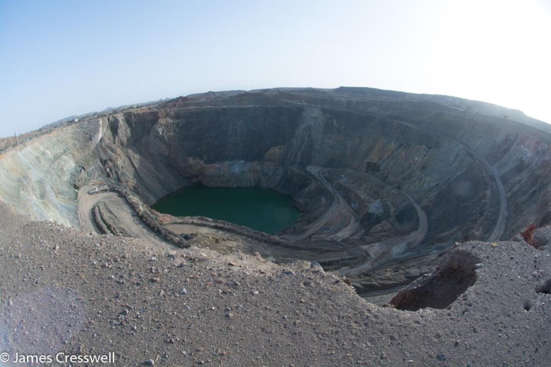 A photograph of a copper mine taken on a GeoWorld Travel Oman geology trip, tour and holiday