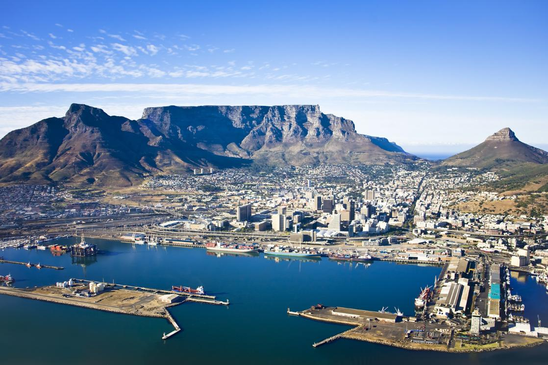 An aerial photograph of Table Mountain and Cape Town, visited on the GeoWorld Travel South Africa geology trip, tour and holiday