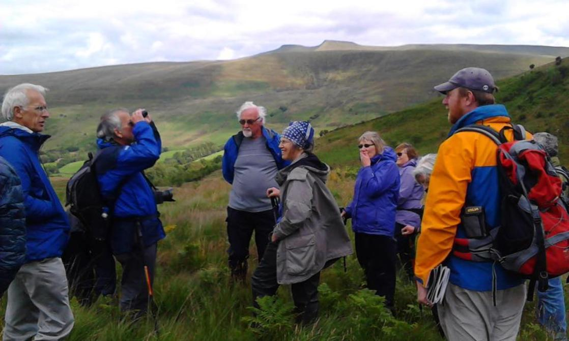 James Cresswell guides a group in Craig Cerrig Gleisiad