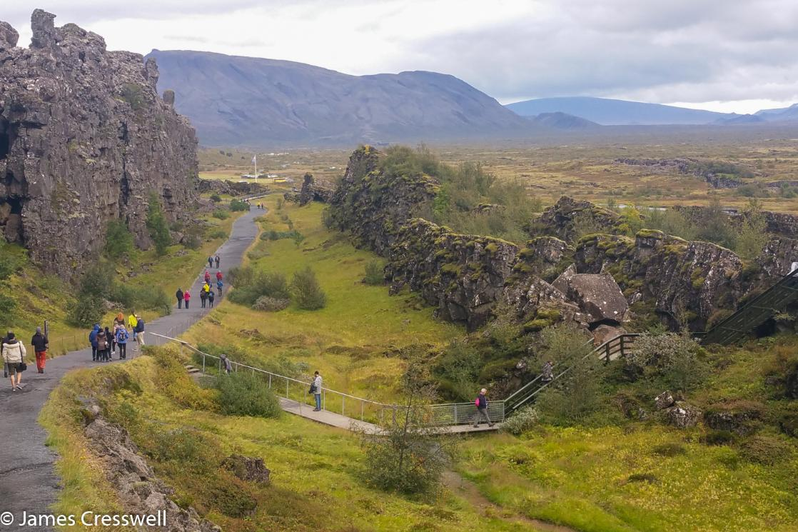 A photograph of the Þingvellir (Thingvellir) World Heritage Site, taken on a GeoWorld Travel Iceland geology and volcano trip, tour and holiday