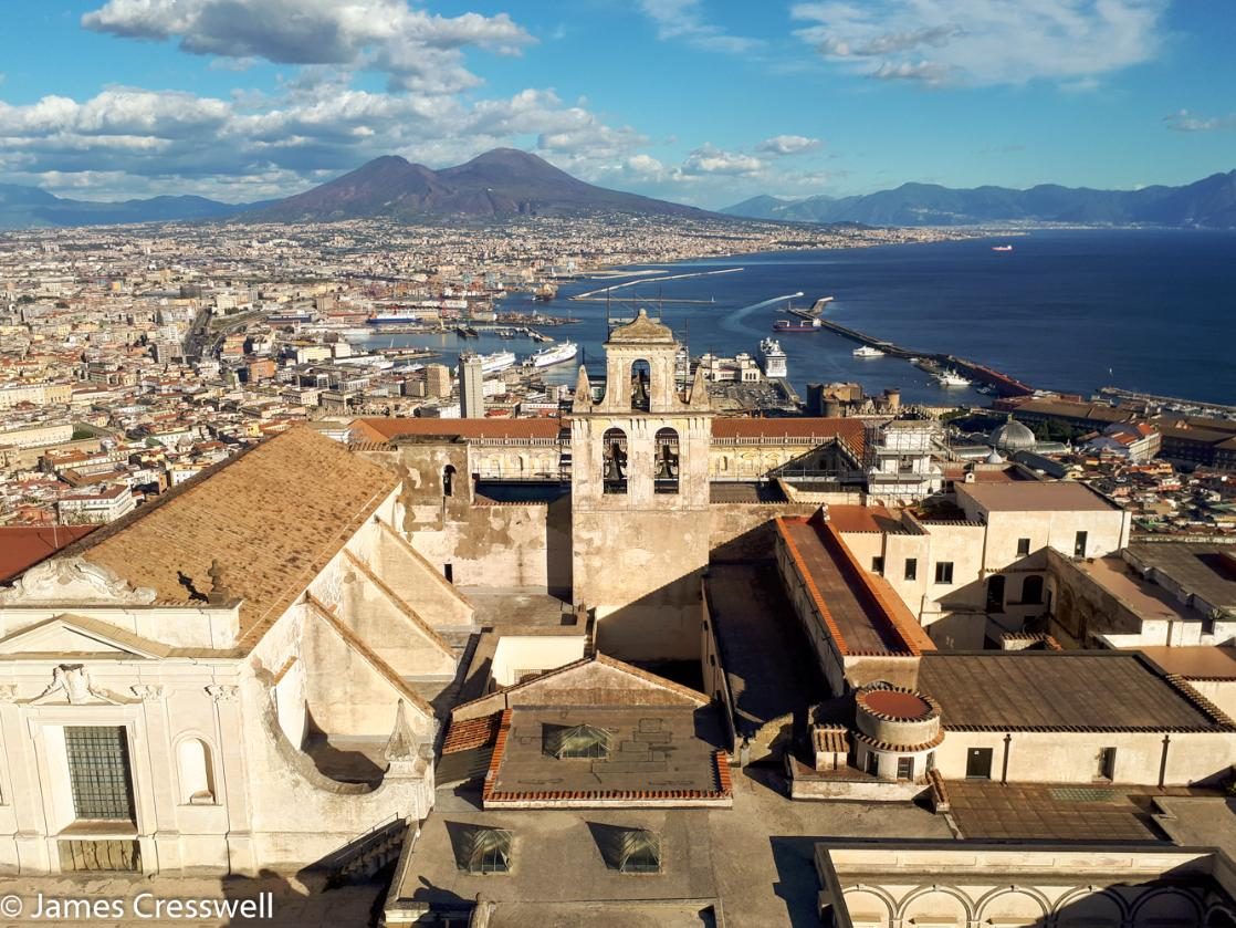 A photograph of the Historic Centre of Naples World Heritage and Vesuvius volcano on a GeoWorld geology and volcano trip, tour and holiday