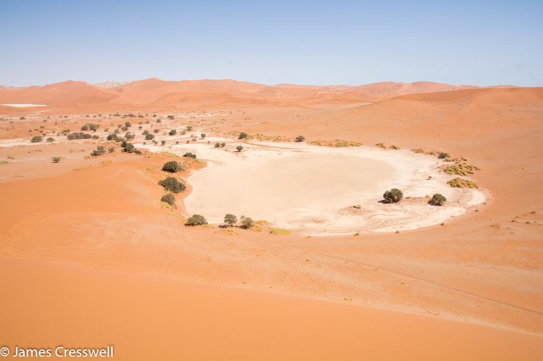A photograph of the Sossusvlei pan in the Namib Sand Sea World Heritage Site, taken on a GeoWorld Travel Namibia geology trip, tour and holiday